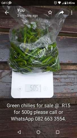 Green chilies for sale