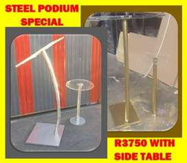 Gold And Silver Steel Podiums With Side Tables