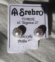 kolczyki srebrne imitujące perły. pr. 925