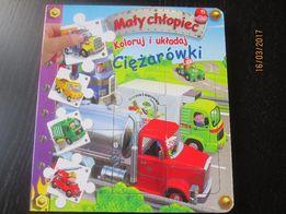 Mały chłopiec - koloruj i układaj - Ciężarówki