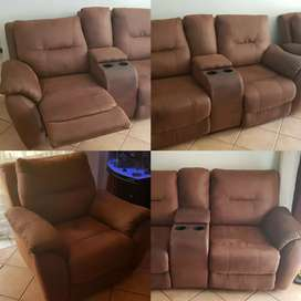 Soft Leather Reclining Couches (Set)