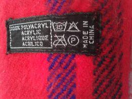 шарф шарфик красный теплый в клетку и полоску 114смх25см дешево теплый