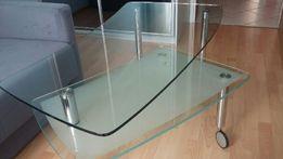 Szklany stolik z obrotową półką
