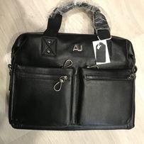 Мужской большой кожаный портфель Armani Армани