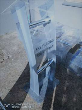 Portable Grey/Silver C Shaped Perspex Curved Lectern Stand