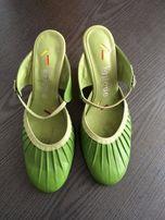 Pistacjowe nowe skórzane buty damskie 37