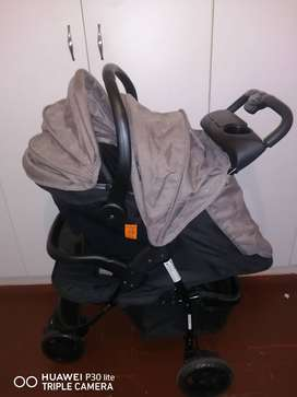 New Model fold cot with  and 2 in 1 pram going with a car seat
