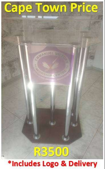 Wooden Base 6 Legged Clear Perspex Double Top Podium