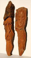 Rzeźba twarz w drewnie, w korze Michalak'79 - 2 sztuki