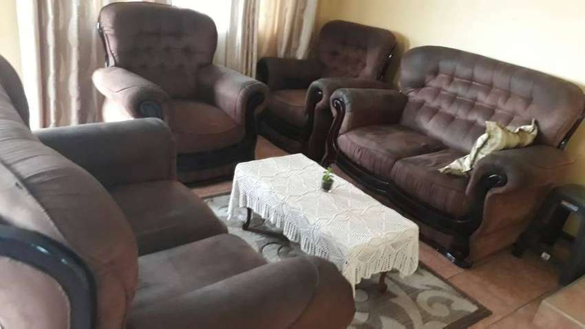 6 seater fabric lounge suite for sale 0