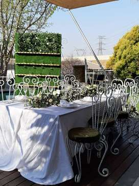 Hire wrought iron chairs, tables, décor, wine/ champagne wall, etc.