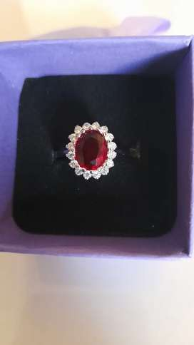 Princess Diana red sapphire 18ct white gold ring