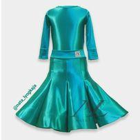 Платье для бальных танцев вельвет глосс бейсик пошив изумрудный