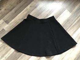 Czarna nowa rozkloszowana spódnica H&M 38 M srebny zamrek prążkowana
