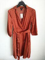 Sukienka na zakładkę H&M ceglasta, ruda modna 38 M nowa!