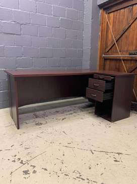 Cherry Wood L Shaped Desk With Drawers , A23440