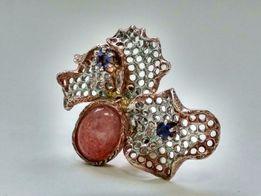 Кольцо - серебро с позолотой, р 19