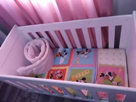 Wooden cot for sale with mattress and bumper