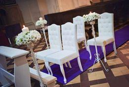 Zestaw mebli ślubnych Klęcznik + 4 białe krzesła styl Ludwik