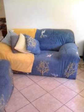 Couches, TV stand, Bar Stools & Rug for sale
