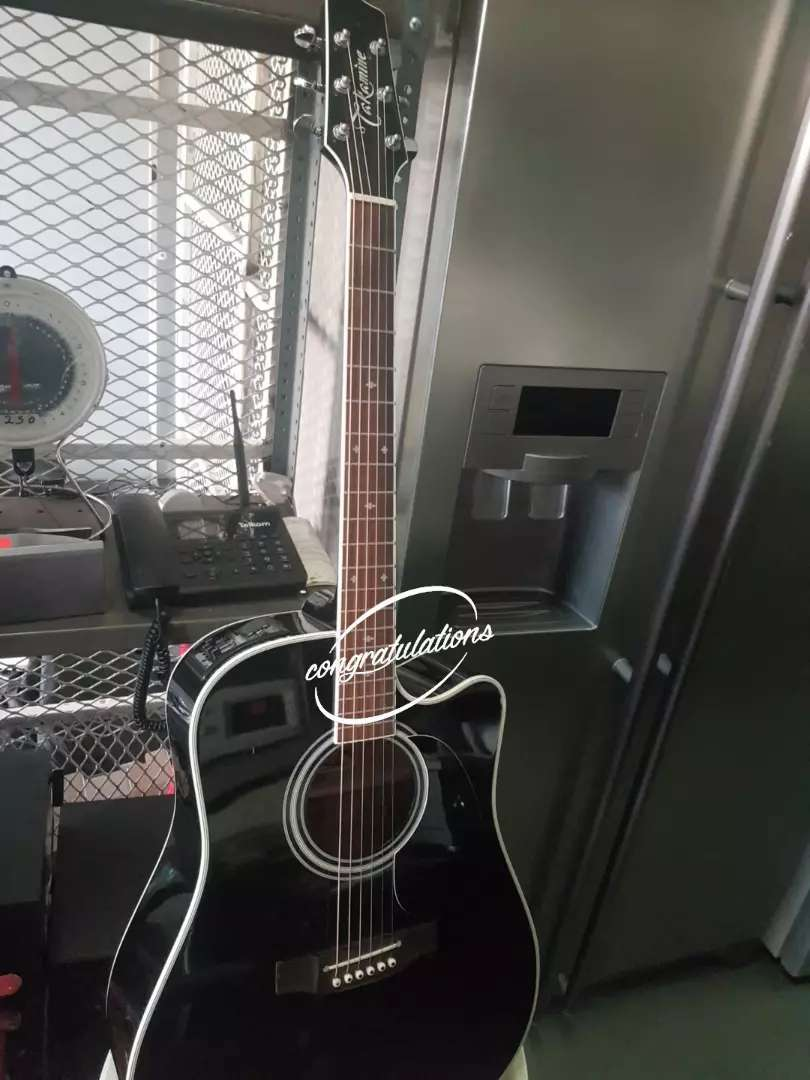 Takamine 6 string acoustic guitar with hard carry case 0