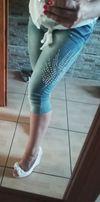 Rybaczki jeans z cekinami dżetami Ćwieki zdobne 36 S