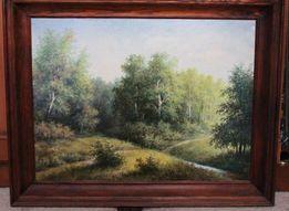 Картина маслом ручей в лесу