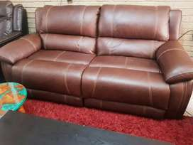 Luxurious Brown leather reclining couches
