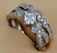 Image of Princess cut stone 2 pc brand new solid silver ring.size 7.