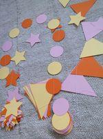 Набор декора из бумаги, бумажные гирлянды, флажки, звезды, кружочки.