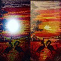Цапли на закате, вышивка, картина, картина в раме, подарок, для дома