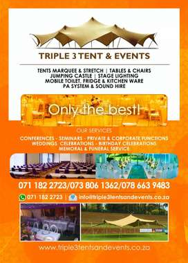 Hiring out tents(marquee & stretch) tables & chairs, kitchen ware, etc