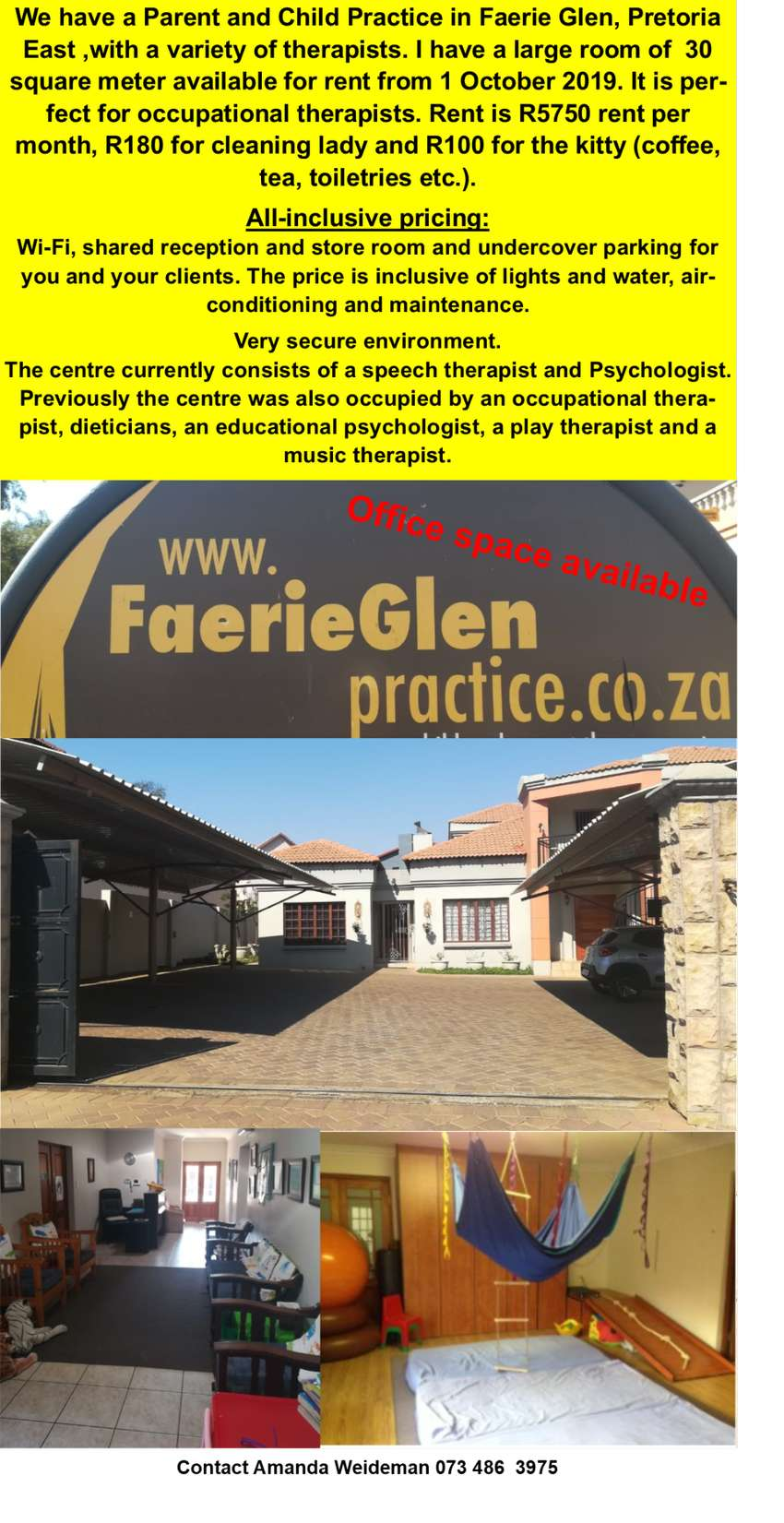 Office space available Faerie Glen Practice 0