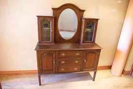 Antique Mahogany Buffet with lead glass