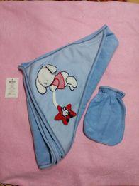 Полотенце для купания с капюшоном и перчаткой