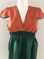 NOWA Bluzka jedwab i tafta pomarańczowo zielona szyta na miarę