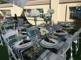 GLASS TABLES HIRE, 10 SEATER GLASS TABLES AND WIMBLEDON CHAIRS HIRE