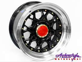 15 inch BSS 4-100 and  4-114 BLACK Alloy wheels, Polished lip, Gold st