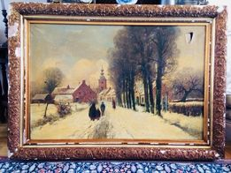 Obraz olejny na płótnie, pejzaż zimowy, złocona rama, sygnowany
