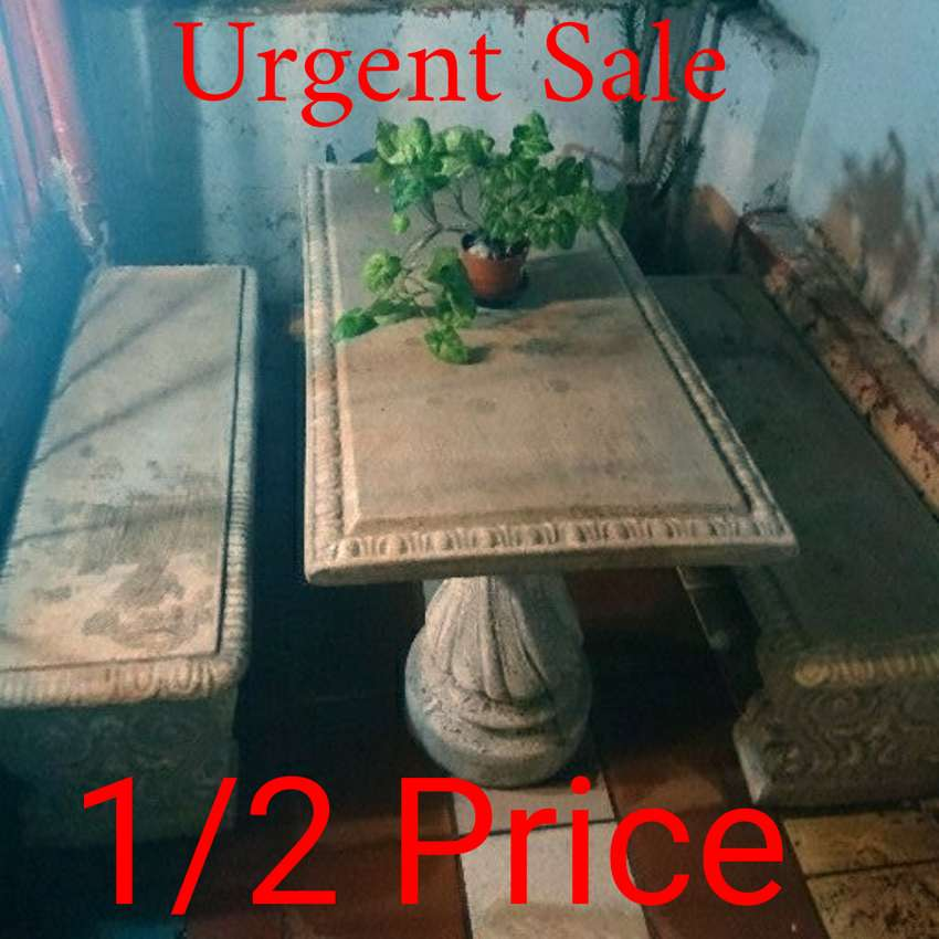 Solid concrete table and bench set, half price of market value 0