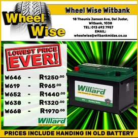 Get the Lowest Prices on Willard Batteries at Wheel Wise Witbank!