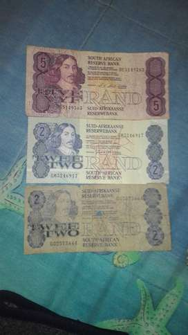 Old money notes and coins