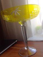 Ваза, конфетница желтое цветное стекло