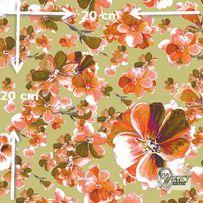 Materiał lub tapeta na zamówienie wzór: Pomarańczowo-oliwkowe kwiaty