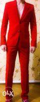 Шикарный красный мужской костюм (брюки и пиджак)