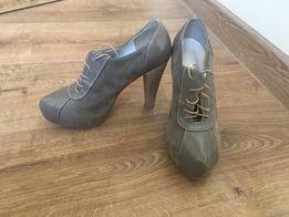 Wysokie buty na obcasie podwyższone - r.36
