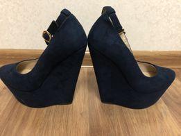 Туфли новые замш (искусственный) темно-синие