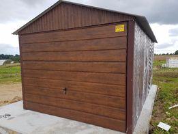 Garaż Blaszak z bramą uchylną Garaże Blaszane Blaszaki kolor ORZECH