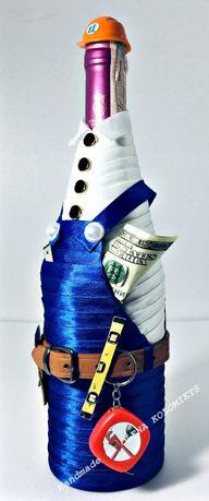 Украшение бутылки, подарок,одежда, костюм, каска, инструмент, handmad Киев - изображение 3