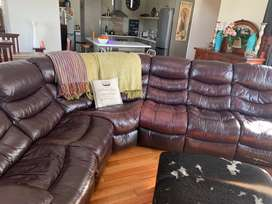 Leather couch corner unit with lazy boy function